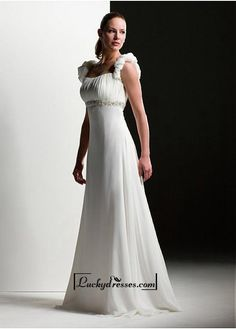Beautiful Elegant Exquisite A-line Chiffon Wedding Dress In Great Handwork Sale On LuckyDresses.com With Top Quality And Discount
