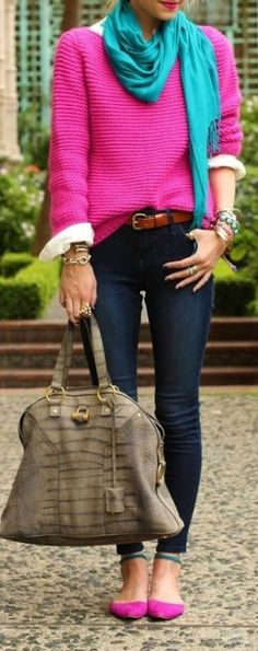 Love this color combination.  That silk scarf gives this outfit a gorgeous pop of color.
