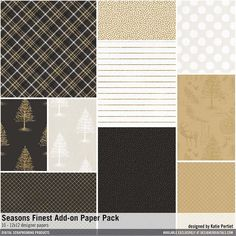 Seasons Finest Add-On Paper Pack elegant scrapbook collection of patterned papers for black tie christmas events and more #designerdigitals