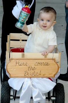 Ring-bearer in a wagon! But it'll be a flower girl