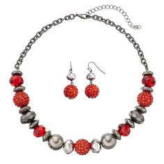 Red Faceted & Fireball Beaded Necklace & Drop Earring Set