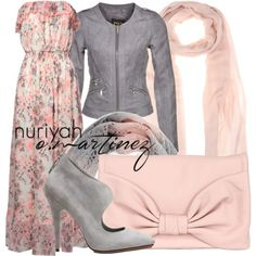 I love this combination, it's super pretty, girly and modest. Pink and grey look really pretty together and the dress is gorgeous.