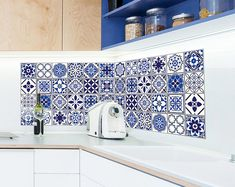 Spanish & Moroccan Blue Wall Tile Sticker Decal Art Classic Style Escalier Handmade Retro Vintage Bathroom (Size: or inches ) Tile Decals, Wall Tiles, Vinyl Decals, Wall Waterproofing, Inexpensive Flooring, Moroccan Blue, Blue Tiles, Kitchen And Bath, Bathroom Interior