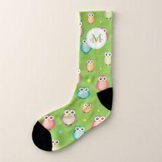 Cute Owls Pattern Monogram Socks - monogram gifts unique design style monogrammed diy cyo customize