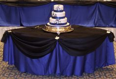 Image Detail for - Wedding royal blue wedding cake – Second Slices® Cakes and Cupcakes.  THE TABLE W THE CAKE BUT INSTEAD OF BLACK HAVE SILVER