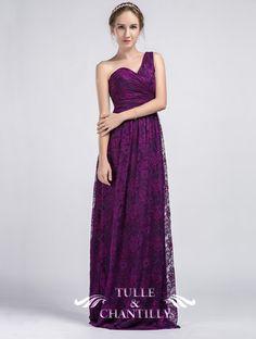 Dark Purple Long Full Lace One Shoulder Bridesmaid Dresses