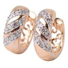 Gold Platinum White Crystal Hollow Hoop Earrings