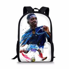 2cc9e149f1 WC World Cup 2018 France Outdoor Backpack Bookbag School Bag Soccer Kids Boy