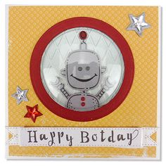 Made by Kim for Cuddly Buddly Die-cut, doodle and build paper robots to make fun toppers on birthday cards for boys and men.