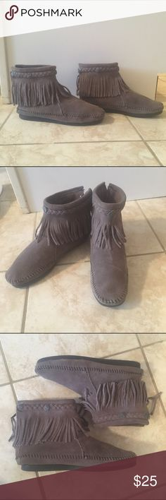 Selling this Minnetonka Moccasins Grey Fringe Ankle Bootie sz 7 on Poshmark! My username is: hdevens. #shopmycloset #poshmark #fashion #shopping #style #forsale #Minnetonka #Shoes