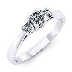 Inel logodna F53ADI INEL DE LOGODNA REALIZAT DIN AUR ALB 14K CU DIAMANT * Piatra principala: diamant patrat 1buc x ~3.00mm - greutate: ~0.20ct * Piatra secundara: diamante patrate 2buc x 2mm - greutate totala: ~0.10ct Engagement Rings, Simple, Classic, Jewelry, Home, Enagement Rings, Derby, Wedding Rings, Jewlery