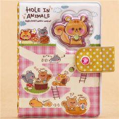 cute pink checkered squirrel tunnel glitter ring binder sticker album by  Q-Lia 1 Ring 06bc64ba149b5