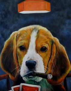 Poker dog man cave art beagle dog cigar pet gift idea custom oil painting from Splendid Beast