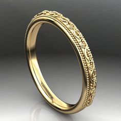 perla yellow gold stacking ring vintage style wedding band