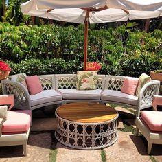 Great afternoon @Beverly Hills Hotel #beverlyhillshotel. Cute new #pink & white #outdoor #lounge #livingroom! #summer2013 #decor #decorating #ideas #wicker #furniture #classic #design #beverlyhills #palmbeachchic - @COCOCOZY