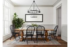 Beautiful modern farmhouse dining room with wainscotting. Beautiful modern farmhouse dining room with wainscotting. World Of Interiors, Casas Magnolia, Dining Arm Chair, Dining Tables, Black Dining Chairs, Table Bases, Swivel Chair, Console Table, Magnolia Homes
