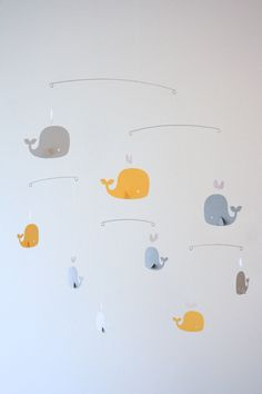 Whale Mobile Yellow & Grey Decor Modern by LoveLouHome on Etsy