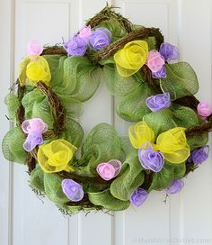 Deco Mesh Spring Wreath, love the little flowers made of mesh.