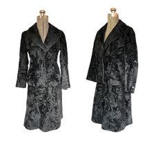 Vintage 1950s Shaved Persian Lamb Fur Suit - 50s Black Jacket Skirt Set Extra Small. $325.00, via Etsy.
