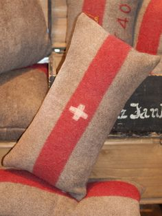 Vintage Swiss Army Blanket Pillow