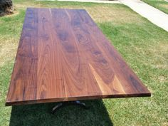 Walnut Table Modern Trestle Base Metal Base by GuiceWoodworks