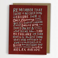 Thoughts On Failure Encouragement Card / No. by emilymcdowelldraws, $4.50