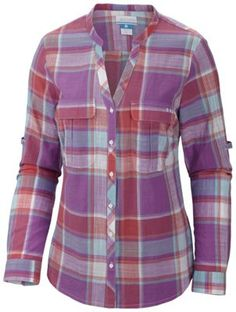 Soft, breezy cotton plaid in ocean-inspired colors brings style and comfort to outings by land or sea on this cool-wearing long-sleeve button-up featuring adjustable sleeves that roll up and fasten for versatile functionality.  #PFG #plaid