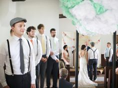 Giant mint green and white poms decorate the ceiling of the ceremony venue. via @Ruffled