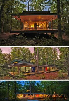 18 Modern Houses In The Forest | Rather than cut down the trees to make room for the house, the trees in this forest became part of the house design.