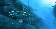 Top secret facility strictly focused on weapons research. Underwater Research Facility Under The Water, Under The Sea, Underwater City, Underwater Painting, Futuristic Art, Futuristic Architecture, Illuminati, Science Fiction, Environment Concept Art