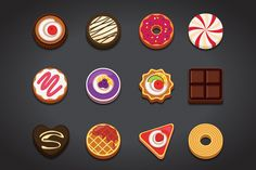 Check out Flat Dessert Icons Set by FoxladyDesign on Creative Market