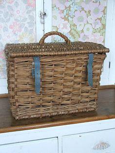 Old Vintage Wicker Fishing Basket or Creel