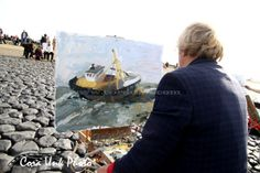 Shipwreck-Petten Oil painter inspiration found  in painting the stranded cutter