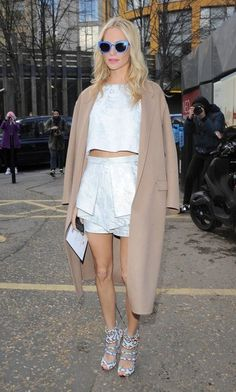 The Most Standout #StreetStyle at #LFW Fall 2014 // Poppy Delevingne in a white crop top and skirt set