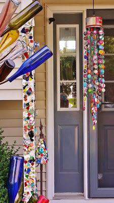Kelli Nina Perkins | bottle cap wind chime Bottle Cap Projects, Bottle Cap Crafts, Fun Crafts, Diy And Crafts, Arts And Crafts, Wine Bottle Art, Bottle Caps, Beer Bottle, Beer Cap Crafts
