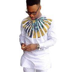African Shirts For Men Patchwork O-Neck Dashiki Kitenge Tops African Clothing African Fashion Designers, African Men Fashion, Africa Fashion, Mens Fashion, Style Fashion, Fashion Ideas, Fashion Styles, Fashion Outfits, Ankara Fashion