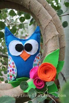 Felt owl wreath, #crafts
