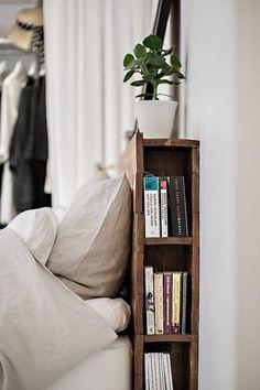 rustic wood headboard with book storage. / sfgirlbybay