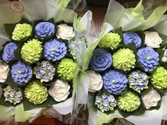 Matching lime and periwinkle baby shower bouquets  www.bakedblooms.com