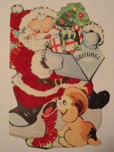 vintage-greeting-card-Christmas-Santa-Clause-Red-Flocked-Unused-gc268