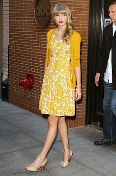 Taylor Swift in sun shiney yellows in New York
