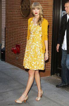 Taylor Swift in sun shiney yellows in New York