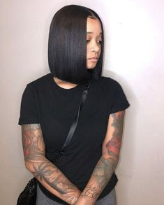 short bob wigs Cute bob wigs for black women lace front wigs human hair wigs. Click picture to see m Sew In Bob Hairstyles, Easy Hairstyles For Medium Hair, Black Girls Hairstyles, Straight Hairstyles, Haircuts, Short Hair Styles Easy, Medium Hair Styles, Natural Hair Styles, Remy Human Hair