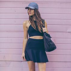"""""""&go: get it on"""" front racer ($58) and skirt ($78) from Lululemon's new collection makes it easy to go from workout to the street."""