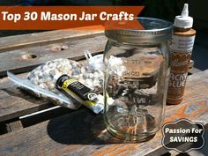If you love the look of mason jars, then be sure to check out these Top 30 Mason Jar Crafts! Great gift ideas! #masonjars #masonjarcrafts #passionforsavings