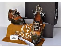 TucciPolo Womens Handmade Wingtip Oxford Style Bleached Green Luxury Shoe
