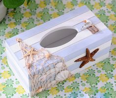 Decorative Vintage Art Decor Wood Tissue Box Cover StarFish Seagull Shell Beach