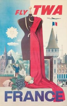 TWA (Trans World Airlines) - France - vintage travel poster by S Greco, 1956