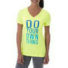 Tee Bright yellow tee says Do your own thing in blue ombre. Tops