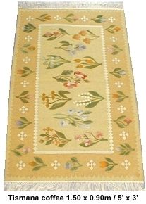 hand woven in Romania, the traditional floral design comes from the Olt river region, south west of Bucharest. This design has been certainly been woven for the past two centuries, there are dated examples in museum catalogues. The kilims featured here are made specially for us, we have had to adapt the colours to softer tones, more in keeping with today's fashions.  The kilims are wool weft with cotton warp  6x4 = 570 ~$800